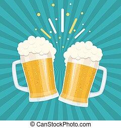 bière, grillage, lunettes