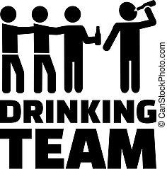 bière, hommes, boire, icône, équipe