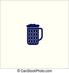 bière, icône, isolé, symbole., signe