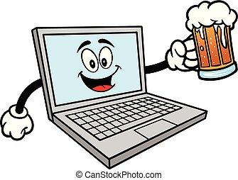 bière, informatique, grande tasse, mascotte