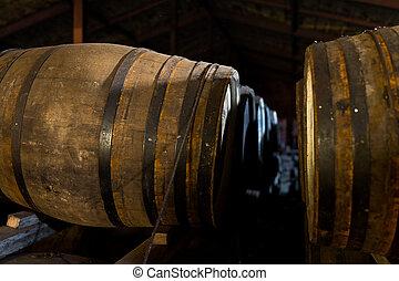 bière, intérieur, baril