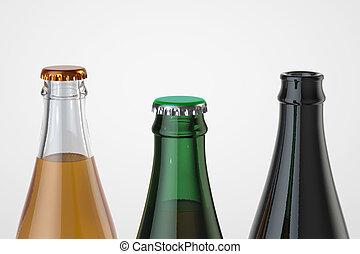 bière, isolé, bouteille