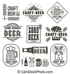 bière, métier, brasserie, emblèmes