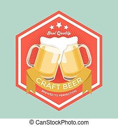 bière, métier, retro, signe