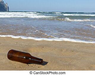 bière, plage, bouteille
