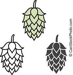 bière, signe, symbole, houblon, étiquette