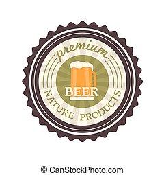 bière, vecteur, conception, étiquette