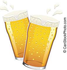 bière, vecteur, grillage, pintes