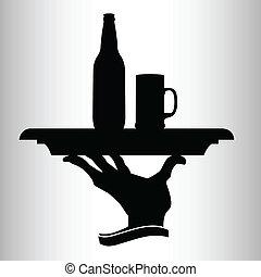 bière, vecteur, silhouettes, homme