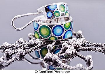 biżuteria, łańcuch, barwny, emalia, srebro