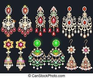 biżuteria, drogocenny, earrings, ilustracja, komplet, kamienie