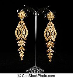 biżuteria, earrings, z, klejnoty