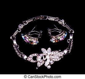 biżuteria, na, czarne tło