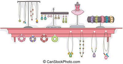 biżuteria, półka, wystawa