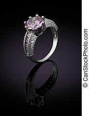 biżuteria, ring, z, gemstone, na, czarnoskóry