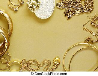 biżuteria, złoty, -, wisiorki, dzwoni, bransoletki, więzy
