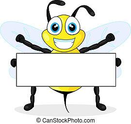 bi, cute, tegn, holde, blank