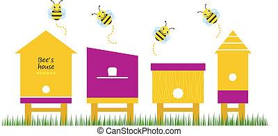 bi, forår, vektor, samling, huse