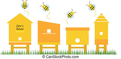 bi, hus, fjäder, kollektion, vektor