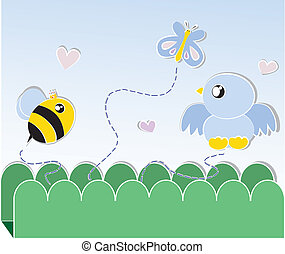 bi, och, fågel, och, fjäril