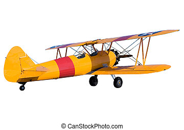 Bi Plane - An yellow bi plane isolated on white