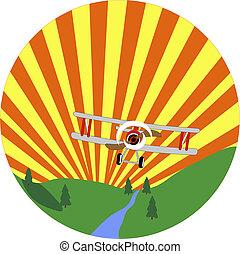 Bi-plane flying through the sky