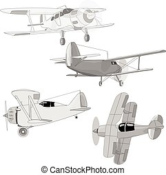 Bi plane collection isolated on sky. Vector illustration.