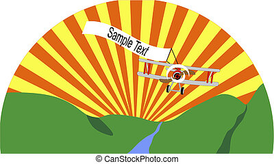 Bi-plane flying through the sky as the sun rises over the horizon with a banner in tow.
