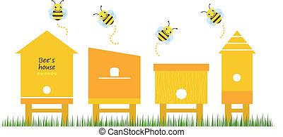 bi, samling, vektor, huse, forår