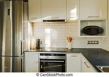 biała cegła, w, rówieśnik, kuchnia