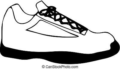 białe obuwie, tło, ikona