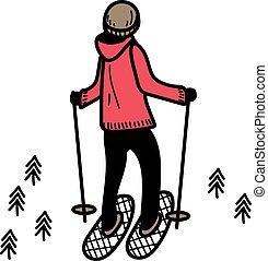 białe tło, ilustracja, hiking, człowiek
