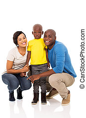 białe tło, odizolowany, rodzina, afrykanin