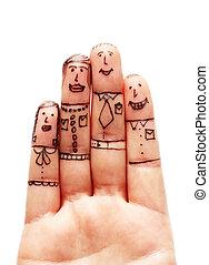 białe tło, palce, rodzina, odizolowany