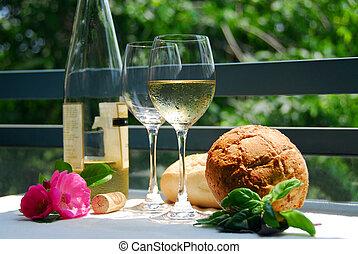 białe wino, zewnątrz, okulary