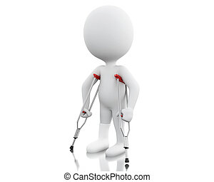 biały, 3d, crutches., ludzie