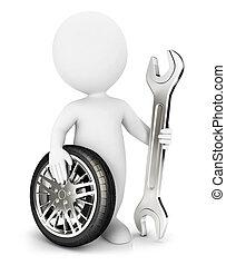 biały, 3d, mechanik, ludzie