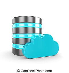 biały, 3d, odizolowany, chmura, database