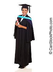 biały, afrykanin, odizolowany, samica, absolwent