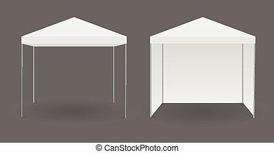 biały, albo, baldachim, namiot
