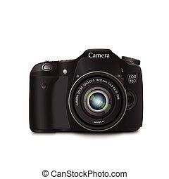 biały, aparat fotograficzny, czarne tło