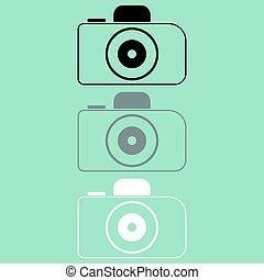 biały, aparat fotograficzny, czarnoskóry, szary, icon.