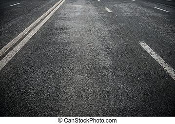 biały, asfalt droga, pasy