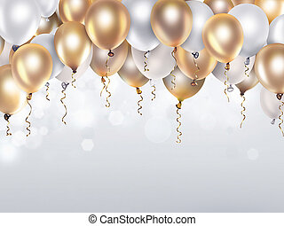 biały, balony, złoty