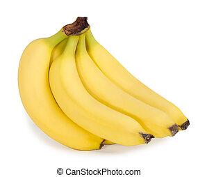 biały, banany, tło, grono