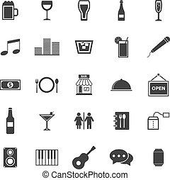 biały, bar, tło, ikony
