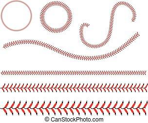 biały, baseball, koronka, tło