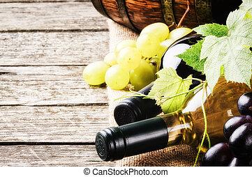 biały, butelki, czerwone wino