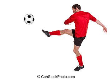 biały, cięty, futbolista, poza