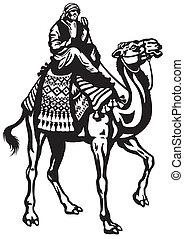 biały, czarnoskóry, jeździec, wielbłąd